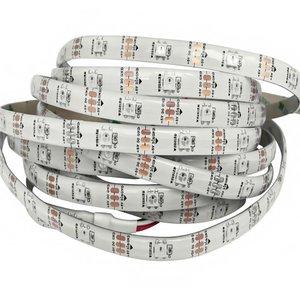 Tira de luces LED RGB SMD5050, WS2812B (blanca, con controles, IP65, 5 V, 30 diodos LED/m, 5 m)